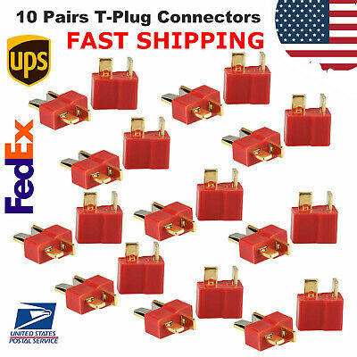 10 Pairs T-Plug Deans Connectors Male & Female For RC LiPo Battery