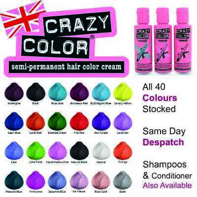 Crazy Color Semi-Perm Conditioning Hair Dye Colour Temporary Wash in Colour