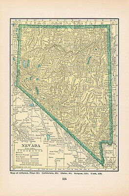 1926 Map Of Nevada Or Nebraska  United States America Vintage Antique