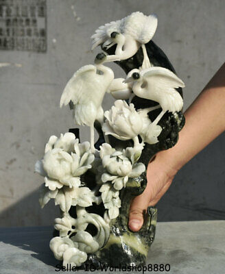 """15.2"""" Chinese Natural Dushan Jade Carved red-crowned crane Birds Flower Statue"""