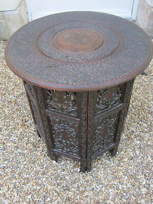 Antique Liberty Style Anglo Indian Carved Hardwood Side Table M