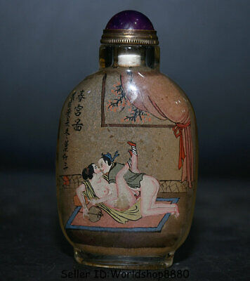 """3.8"""" coloured glaze Inside Painting man and woman Make Love snuff box Bottle #02"""