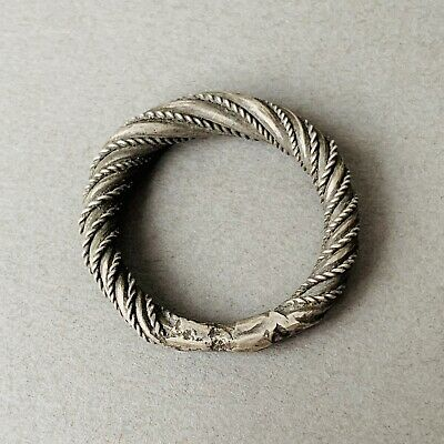 RARE! Stunning Viking Solid Silver Braided Figure Ring. U.K. Size: R