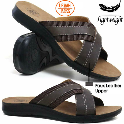 MENS SUMMER SANDALS NEW BOYS CASUAL WALKING FAUX LEATHER MULES BEACH SHOES SIZE