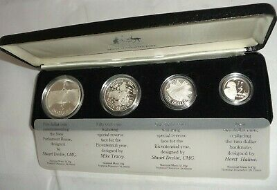 1988 ROYAL AUSTRALIAN MINT 4 piece Silver Proof Coin Set with Case Uncirculated