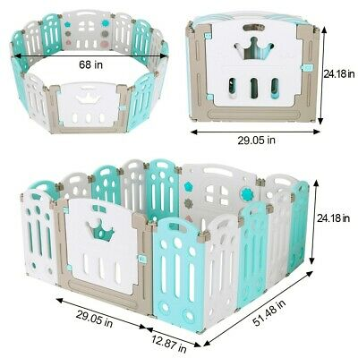 Foldable Baby Playpen Kids 14 Panel Fence Activity Centre Safety Play Yard Home