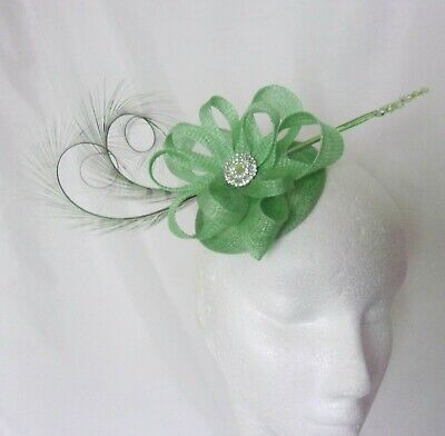 Apple Lime Pistachio Green Feather Sinamay Diamante Fascinator Mini Hat Wedding