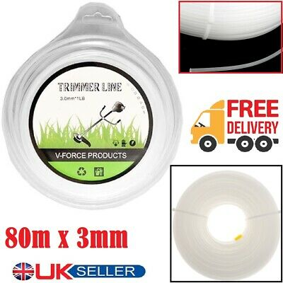 New 80M Strimmer Line Trimmer Brush Cutter Line Wire Cord Round 3mm Spool Refill