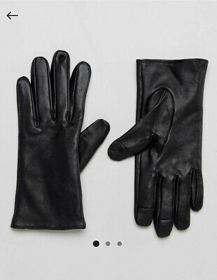 Asos Touch Screen Black Leather Gloves Size M