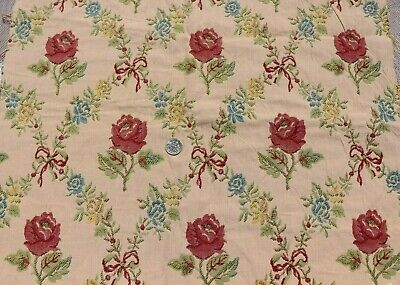 """Vintage French Roses & Bows c1930-40 Jacquard Tapestry Fabric~L-14"""" X W-17"""""""
