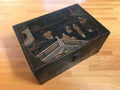 Large 19th Century Antique Black Lacquer Chinese Camphor Chest Trunk