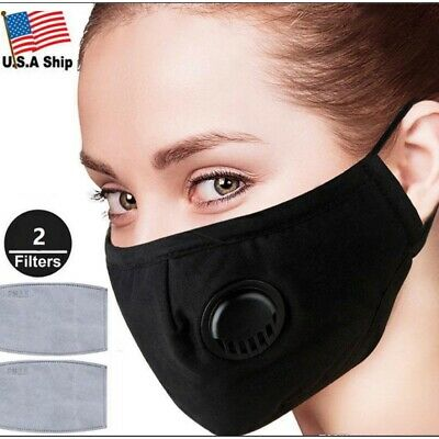 Washable Fabric Face Mask With Filter Pocket & Air Vent - Black