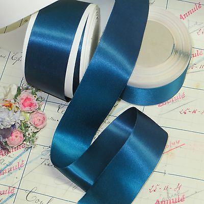 10y SPOOL PICOT FEATHER EDGE LGT BLUE DBL FACE SATIN RAYON RIBBON MILLINERY VTG