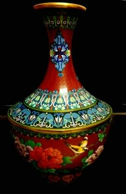 "STUNNING LARGE 12 "" TALL Vintage Chinese Cloisonne Vase with Flowers & BIRDS"