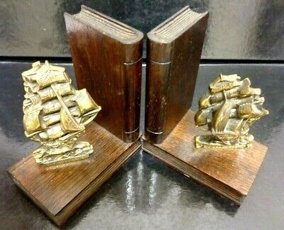 "Vintage Cast Brass Bookends Old Ships Nautical Maritime Gold Pair ""CUTTY SARK"""