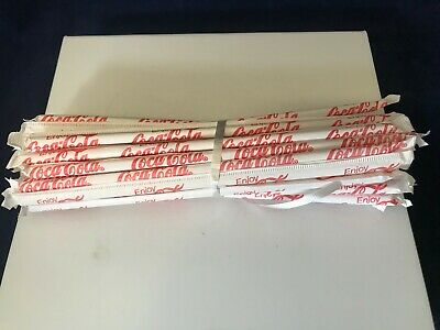 Coca Cola Drinking Straws wrapped in paper vintage 1970 lot of 25 Coca Cola  NOS