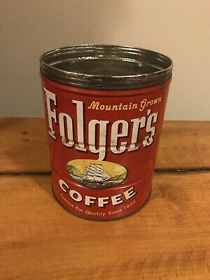 VINTAGE 1959 FOLGERS COFFEE 2 LB TIN CAN Without Lid