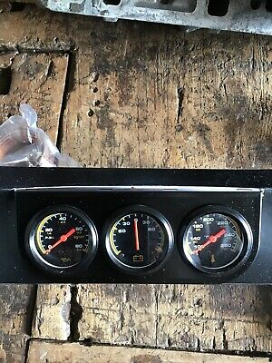 Triple Gauge Set Black Full Face Capillary Hot Rod Kit Car In Uk No Charges