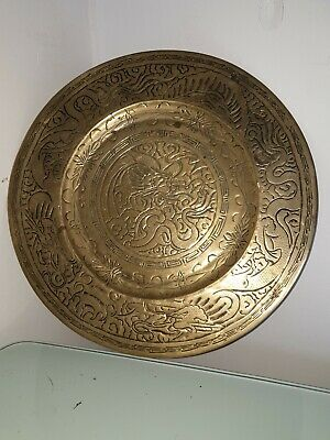 Antique Vintage Chinese Brass Plate 35.5cm Diameter Nearly 2kg Weight Signed