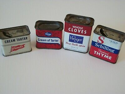 Four (4) Vintage All Metal Spice Tins French's Kroger And Shilling Brands