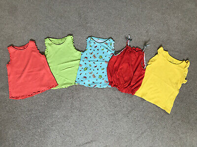 5 X Next girls summer vest tops bundle aged 4-5 years, Green Orange Yellow Blue
