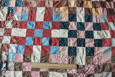 Antique c1860-70 Hand Pieced Quilt Top With Earlier HandBlocked Fabrics~Reserved