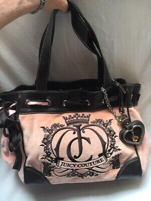 JUICY COUTURE Pink & Brown Velour Hobo Bag Purse