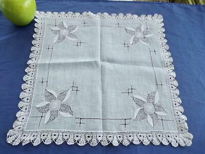 Antique White Linen Handkerchief Hand Drawnwork Embroidery Applique Crochet Trim
