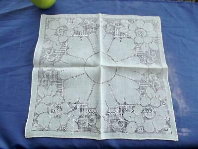Antique Sheer Cotton Handkerchief Extensive Hand Drawnwork Floral Bridal Hankie
