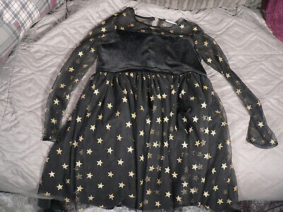 Girls Black Party Dress With Gold Star Detail Age 9 Years From Matalan