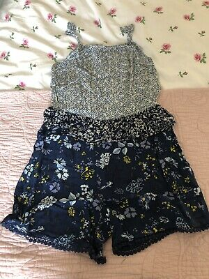 Girls Navy Blue Floral Playsuit Next 8 Years