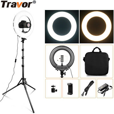 "Travor Photo Studio 14"" Outer Dimmable Bi-color SMD LED Ring Light Lighting Kit"