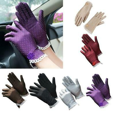 Women UV Protection Short Gloves Floral Lace Polka Dot Sunscreen Driving Mittens