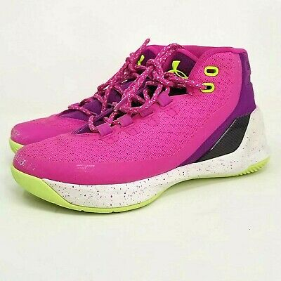 Under Armour Curry 3 DUB Youth Kids Girls Basketball Shoes Size 5Y pink green