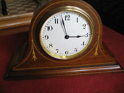 Lovely Inlaid  Mahogany cased Swiss Made Time piece (clock), Working.