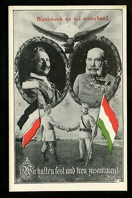 Hungary Germany postcard Military WWI Vintage Propaganda We Stand Firm & Loyal