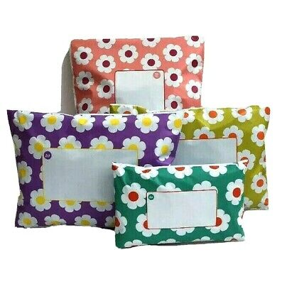 MIXED Daisy Floral Flowery Coloured Printed Mailing Bags Mixture of 4 Colours