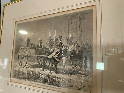 Antique Signed Etching Florida Crakers Going To Church Black Americana Print