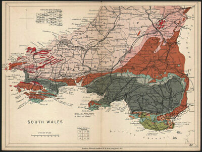 Geological map THE TIMES 1900 old antique vintage plan chart Scotland