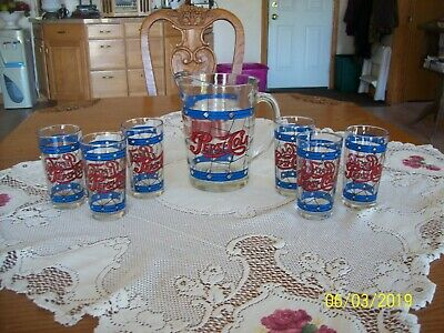 Pepsi Rare 1970's Original Tiffany Style Vintage Heavy Pitcher & 6 Tumblers