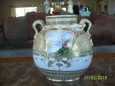Nippon Porcelain Gilted Gold Beaded Hand Painted Double Handle Antique Vase