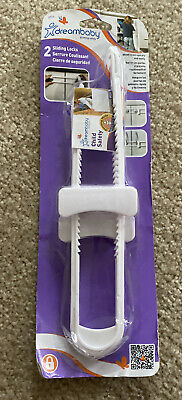 Dreambaby 2 Sliding Locks to Secure Cabinet Doors Quickly & Easily New & Sealed