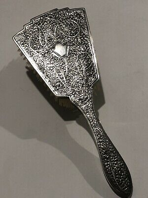 Exquisite Large Antique Islamic Persian Indian Kashmir Solid Silver Brush