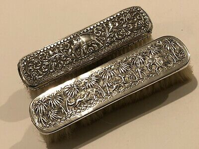 Exquisite Antique Islamic Indian Kutch & Lucknow Solid Silver Brushes