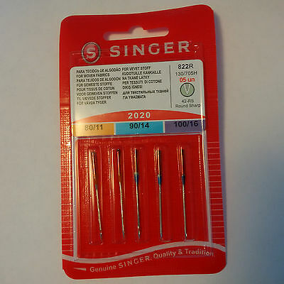 3 Packs Singer Needles 2020 size 80/11,90/14,100/16 (15 needles total)