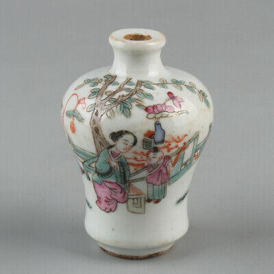 Chinese Exquisite Handmade the ancients porcelain snuff bottle