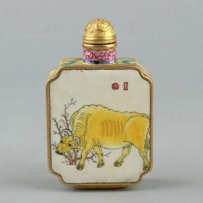 Chinese Exquisite Handmade Cattle copper Enamel snuff bottle