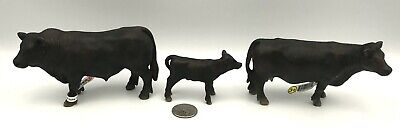 Schleich BLACK ANGUS FAMILY Bull 13766 Cow 13767 Calf 13766 Retired 2002 Cattle