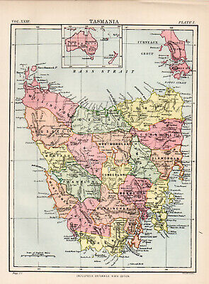 Antique Map Of Tasmania Australia 1880