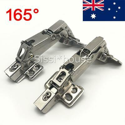 2x Door Kitchen Cabinet Cupboard Soft Close Full Overlay Steel Hinges-165 degree